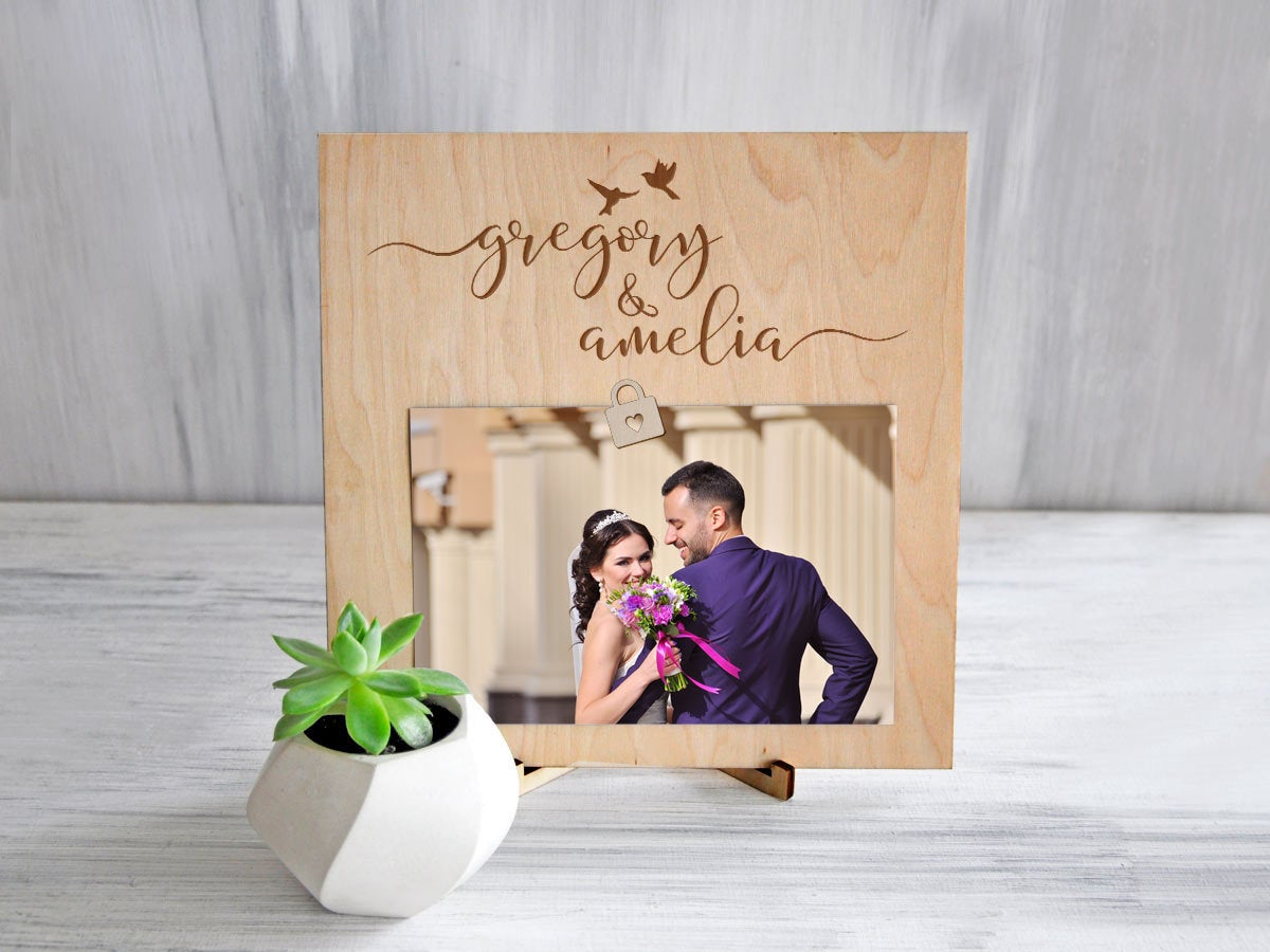 Wedding Clip Picture Frame Wood Photo Frame Sign Wedding Gift for Couple Mother of the Bride Gift Custom Frame Engagement Gift Rustic Frame