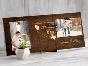 Personalized Picture Frame Wood Photo Display Anniversary Gift Photo Frame Sign Custom Clip Photo Frame Destination Wedding Gift for Couple