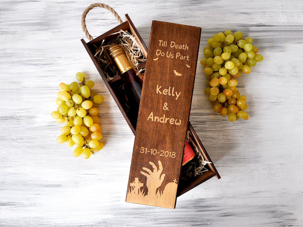 Halloween Gift Wedding Wine Box Halloween Wedding Gift Wine Box Anniversary Gift for Couple Custom Gothic Wedding Gift Engraved Wine Box