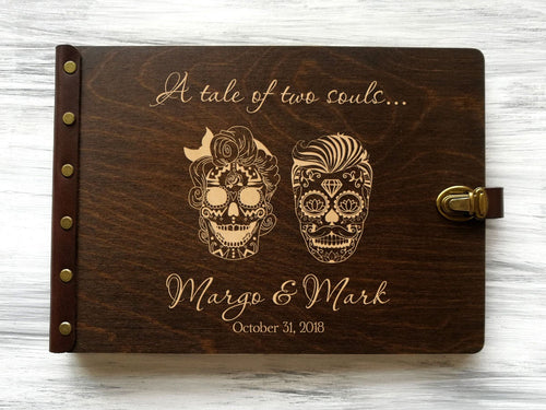 Halloween Wedding Photo Album Personalized Sugar Skull Album Mr and Mrs Wedding Couple Gift Gothic Wedding Scrapbook Anniversary Gift