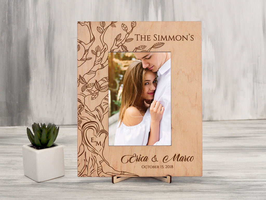 Personalized Picture Frame Tree Engagement Gift Honeymoon Photo Frame Wedding Frame Gift for Parents Rustic Frame Wood Vertical 5x7 Frame