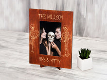 Load image into Gallery viewer, Gothic Wedding Frame Skeleton Bride & Groom Personalized Picture Frame Sugar Skull Wedding Gift Engraved Wood Photo Frame Halloween Wedding