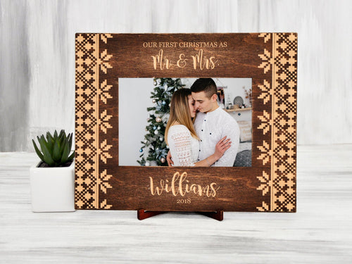 Personalized Picture Frame 1st Christmas as Mr & Mrs Wood Photo Frame Christmas Gift for Couple Custom Family Frame 5x7 Rustic Home Decor