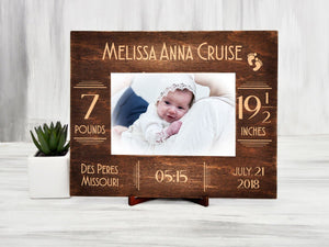 Baby Picture Frame Custom Photo Frame New Mom Gift for Her Personalized Frame New Baby Gift Newborn Baby Gift Nursery Frame Engraved Frames