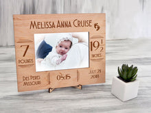 Load image into Gallery viewer, Baby Picture Frame Custom Photo Frame New Mom Gift for Her Personalized Frame New Baby Gift Newborn Baby Gift Nursery Frame Engraved Frames