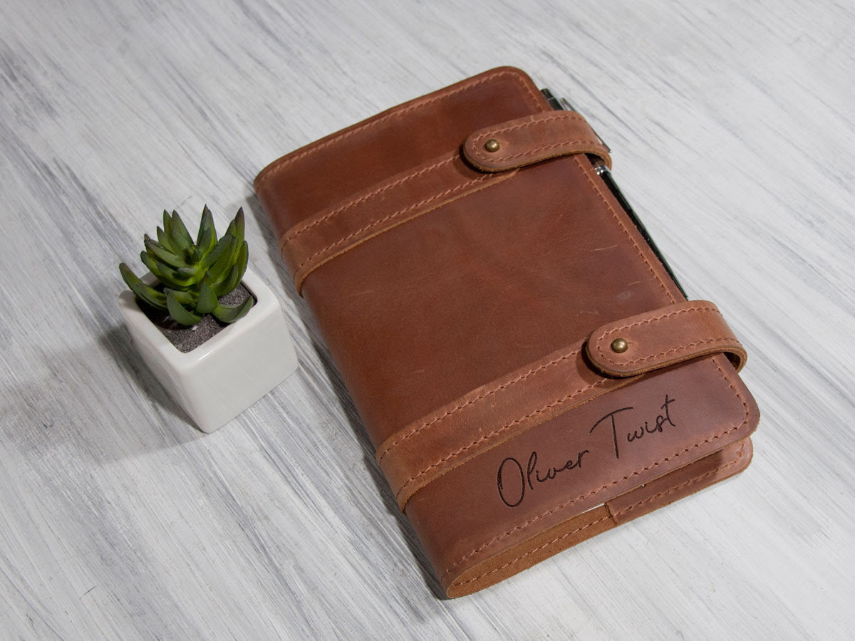 Personalized Leather Cover New Year Gift Custom Journal Notebook Christmas Gift for Husband or Boyfriend Traveler Notebook Diary Sketchbook