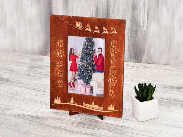Christmas Picture Frame Happy Holidays Frame Christmas Gift for Parents Engraved Frame Custom Frame Holiday Gift for Couple Wood Photo Frame