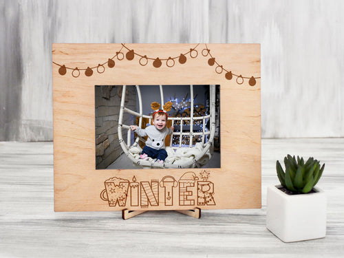 Baby Christmas Frame Wood Photo Frame First Christmas Gift Engraved Picture Frame Rustic Frame Christmas Gift Holiday Decor Xmas Baby Gift