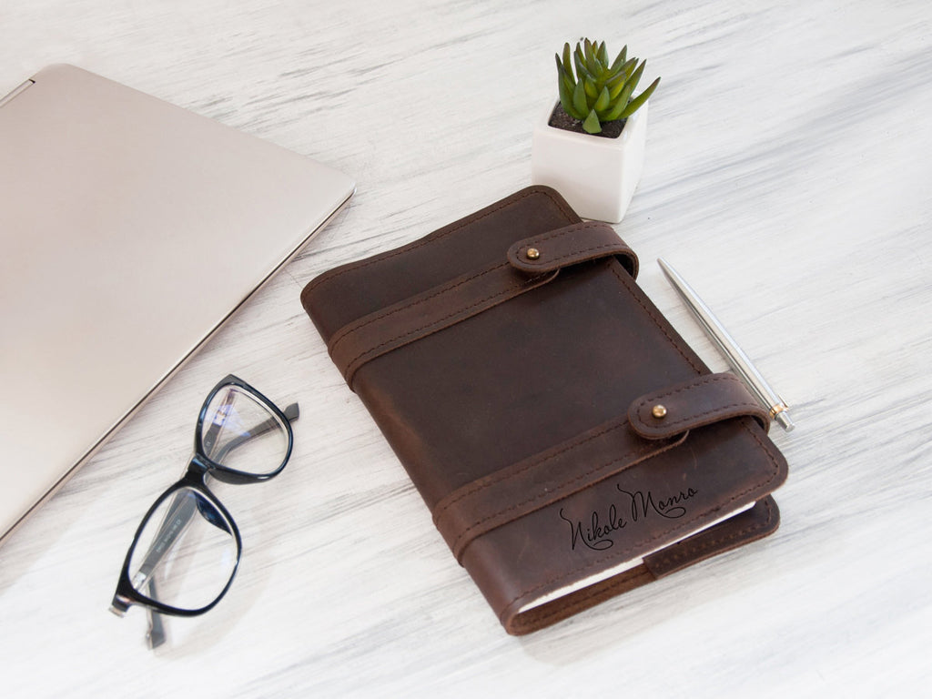 Personalized Leather Journals Brown Leather Notebook Engraved Name on Journal Notebook Christmas Gift Custom Notebook Cover Girl Boss Gift