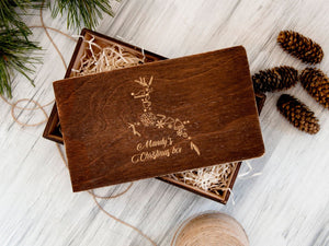 Christmas Eve Box Reindeer Gift Personalized Box for Kids Christmas Gift for Daughter or Son Wooden Christmas Box for Children Xmas Gift Box
