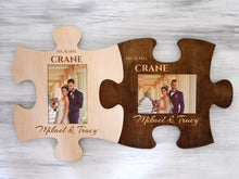 Load image into Gallery viewer, Custom Puzzle Piece Photo Frame Mr & Mrs Wedding Gift for Couple Engraved Picture Frame for 4x6 Photos Original Housewarming Gift Wall Frame