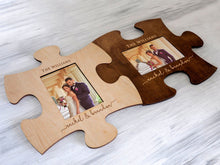 Load image into Gallery viewer, Engraved Puzzle Frame Wedding Party Gift Personalized Photo Frame 4x6 Engagement Gift for Couple Custom Picture Frame Family Christmas Gift