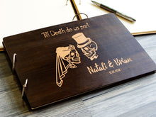 Load image into Gallery viewer, Halloween Wedding Guestbook Autumn Wedding Till Death Do Us Part Unique Guest Book Sugar Skull Engraved Custom Guestbook Dia De Los Muertos