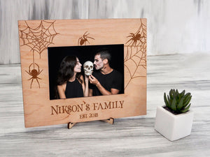 Original Wedding Frame Gothic Wedding Gift for Couple Spider Gift Personalized Picture Frame Vertical or Horizontal Halloween Frame 4x6, 5x7