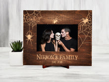 Load image into Gallery viewer, Original Wedding Frame Gothic Wedding Gift for Couple Spider Gift Personalized Picture Frame Vertical or Horizontal Halloween Frame 4x6, 5x7