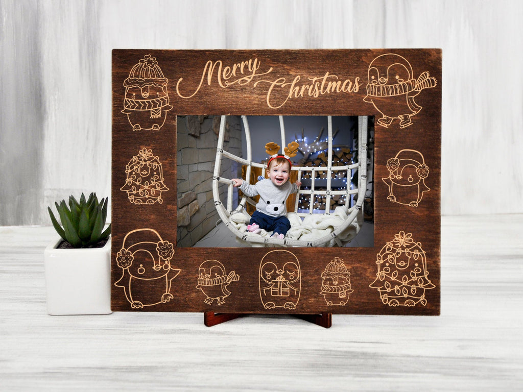 Christmas Picture Frame Penguin Gift Wooden Photo Frame Christmas Gift Baby Frame Custom Wall Frame Xmas Baby Gift Nursery Frame 4x6, 5x7