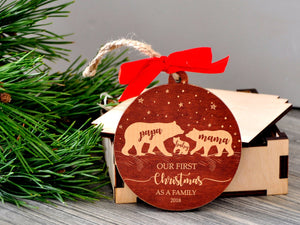 Bear Family Christmas Ornament Our First Christmas as Family of Three Ornament Mama Papa Baby Bear Ornament New Parent Wooden Holiday Decor