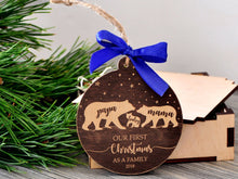 Load image into Gallery viewer, Bear Family Christmas Ornament Our First Christmas as Family of Three Ornament Mama Papa Baby Bear Ornament New Parent Wooden Holiday Decor
