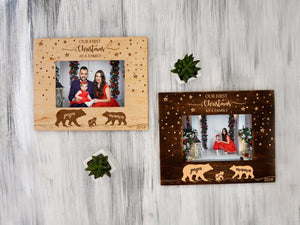 Christmas Frame Bear Family Gift Wooden Photo Frame First Christmas as Family Custom Picture Frame Engraved Wall Frame Winter Holidays Gift