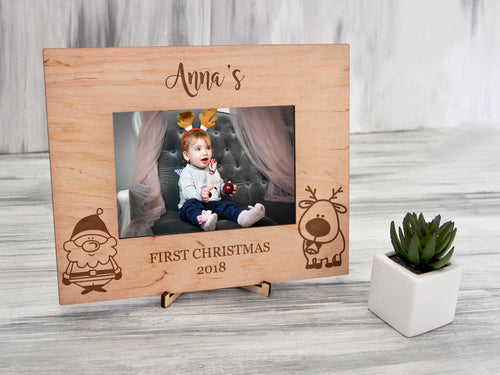 1st Christmas Photo Frame Baby Picture Frame New Baby Frame Custom Frame Engraved Baby Name Wood Frame Christmas Gift for Grandma Xmas Gift
