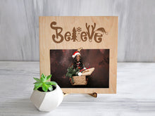 Load image into Gallery viewer, Christmas Frame Believe Christmas Gift Wood Clip Frame Engraved Picture Display Unique Photo Frame Gift for Daughter Christmas Decoration