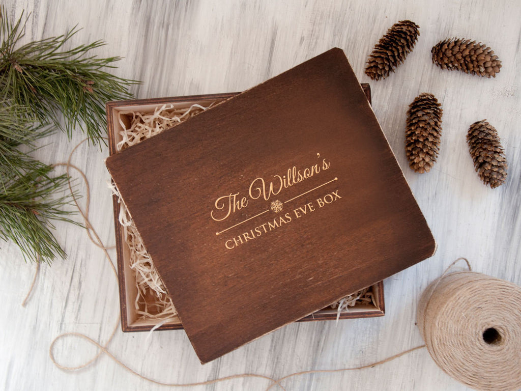 Wooden Christmas Eve Box Personalized Keepsake Box Christmas Gift Box Wood Memory Box Christmas Packaging Personalized Christmas Storage Box