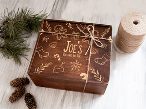 Christmas Eve Gift Box for Kids Personalized Gift for Children Wooden Keepsake Box Xmas Present Box Personalized Memory Box Holiday Gifts