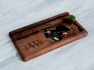 Personalized Gift for Dad Custom Docking Station for Men Fathers Day Gift Best Dad Ever Gifts Wooden Desk Organizer Phone Charging Station