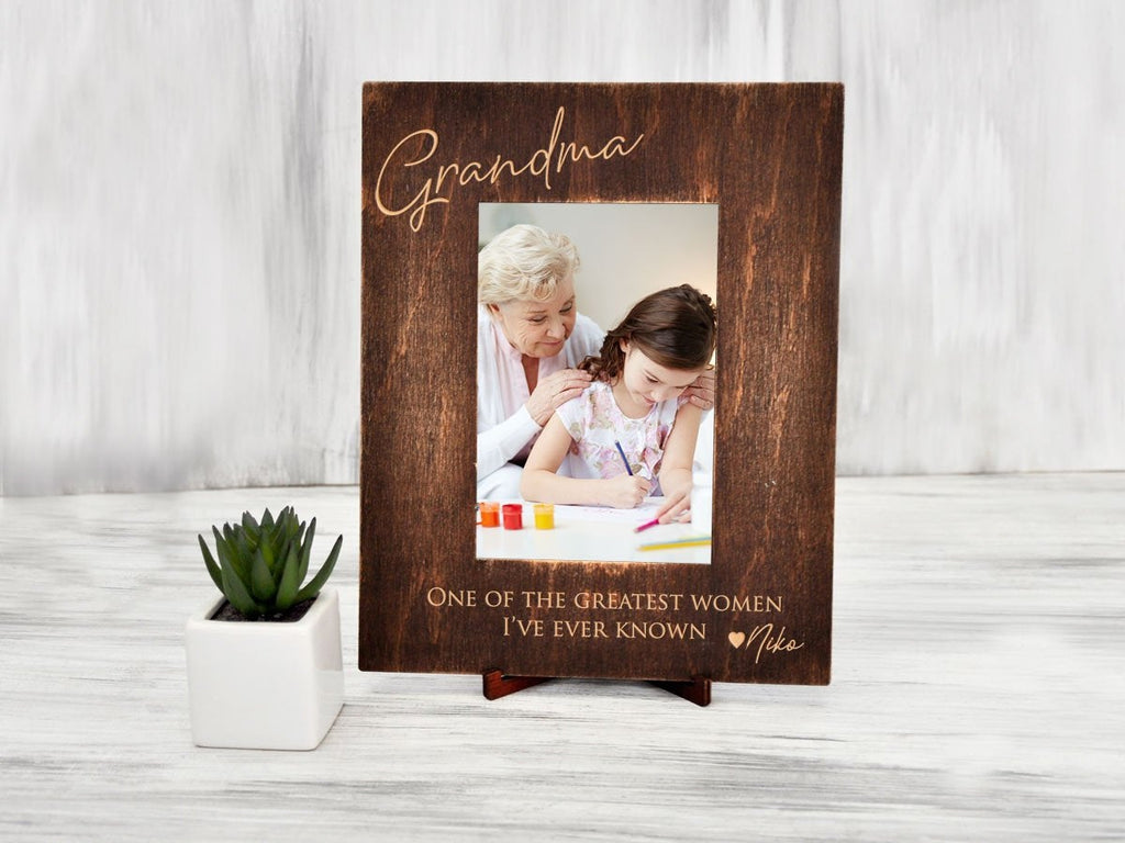 Wooden Photo Frame Christmas Gifts for Grandma Personalized Picture Frame Holiday Gifts for Granny from Granddaughter Custom Rustic Frame