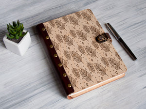 Refillable Journal Wooden Notebook Custom Journal Notebook Leather Sketchbook Feathers Journal Unique Gift for Women Personalized Notebook