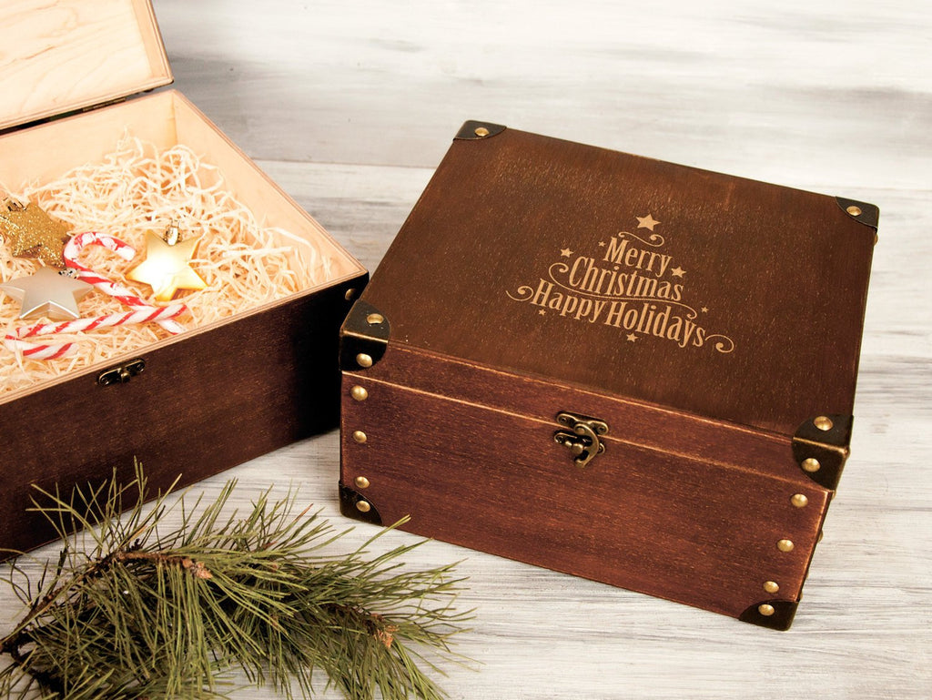 Merry Christmas Gift Box Christmas Eve Box Housewarming Gift Happy Holidays Wood Gift Box Engraved Christmas Gift Box Family Memories Box