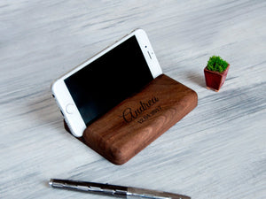 Charging Station Custom Gift for Him Boyfriend Gift Christmas Personalized Phone Stand Walnut Docking Station Coworker Gift Tablet Stand