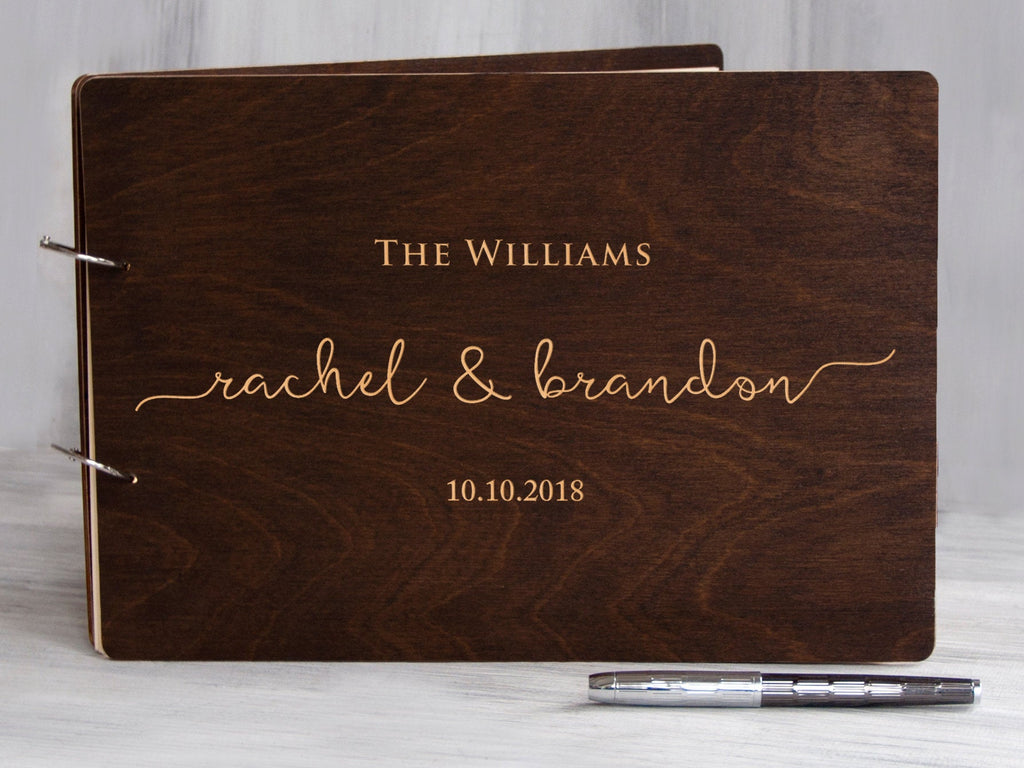Wooden Wedding Guest Book Rustic Custom Engraved Guest Book Wood Unique Guestbook Custom Instant Photo Wedding Guest Book Personalized Album