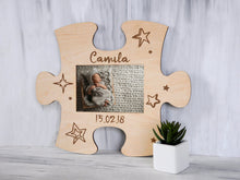 Load image into Gallery viewer, Wood Picture Puzzle Frame Housewarming Gift Personalized New Baby Frame New Mom Gift Custom Photo Frame Mother's Day Gift Wall Frame 4x6
