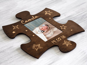 Wood Picture Puzzle Frame Housewarming Gift Personalized New Baby Frame New Mom Gift Custom Photo Frame Mother's Day Gift Wall Frame 4x6