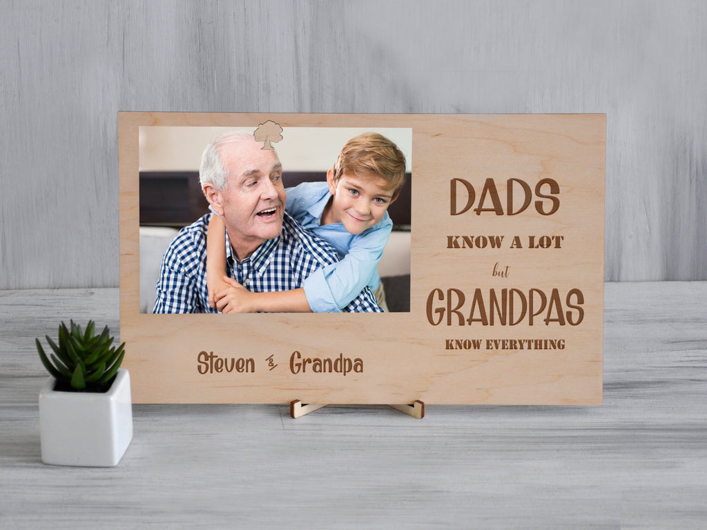 Personalized Frame Grandpa Gift from Grandson Wood Picture Frame Fathers Day Gift for Grandfather Engraved Clip Photo Frame Custom Frame 5x7
