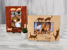 Load image into Gallery viewer, Wood Photo Frame Cat Lover Gift Custom Picture Frame Personalized Cat Gifts I Love My Cat Engraved Frame Gift for Daughter Pet Lover Gift