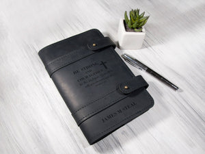 Personalized Leather Journal Prayer Journal Bible Study Journal Mens Leather Journal Custom Notebook Cover Christian Gift for Man or Woman