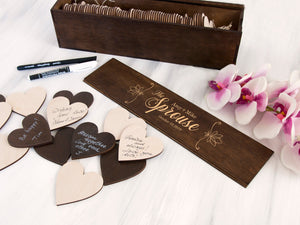 Personalized Wedding Sign in Box Alternative Wedding Guest Book Rustic Wedding Decor Hearts Guestbook Drop in Wish Box Custom Wedding Gift