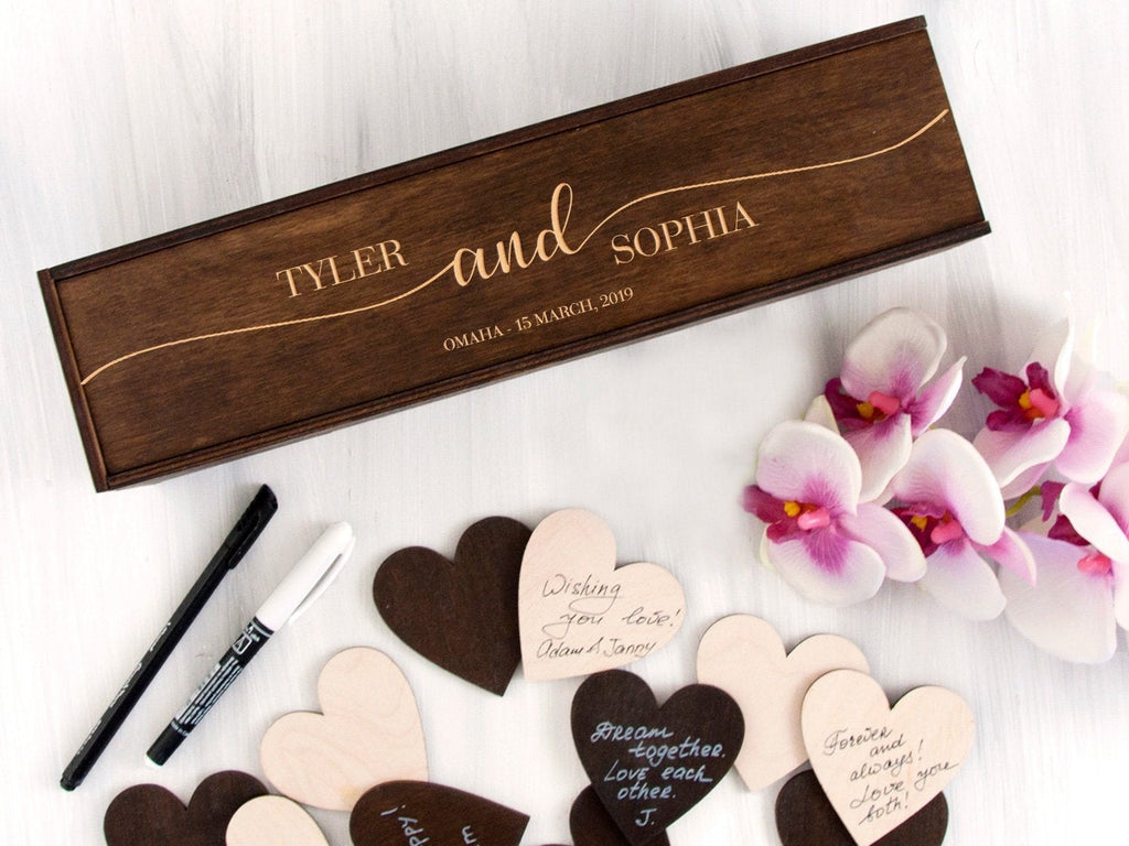 Alternative Wedding Guest Book Sign Rustic Wedding Decor Custom Wooden Hearts Guest Book Wedding Wishes Box Unique Wedding Gift for Couple