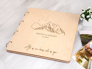 Anniversary Gift for Couple Personalized Photo Album with Self-adhesive Sheets Wedding Photo Album New Family Gift Wood Engraved Photo Book