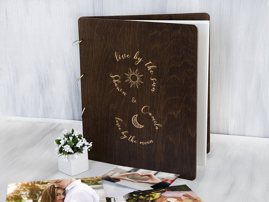 Personalized Photo Album Live by the Sun Love by the Moon Wedding Gift for Couple Wood Memory Book with Self-Adhesive Sheet Custom PhotoBook