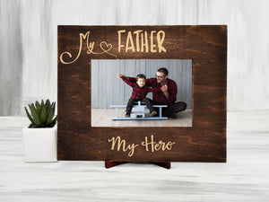 Wood Photo Frame Fathers Day Gift My Father My Hero Custom Wall Frame Daddy Gift Housewarming Gift Dad Picture Frame Birthday Gift from Kids