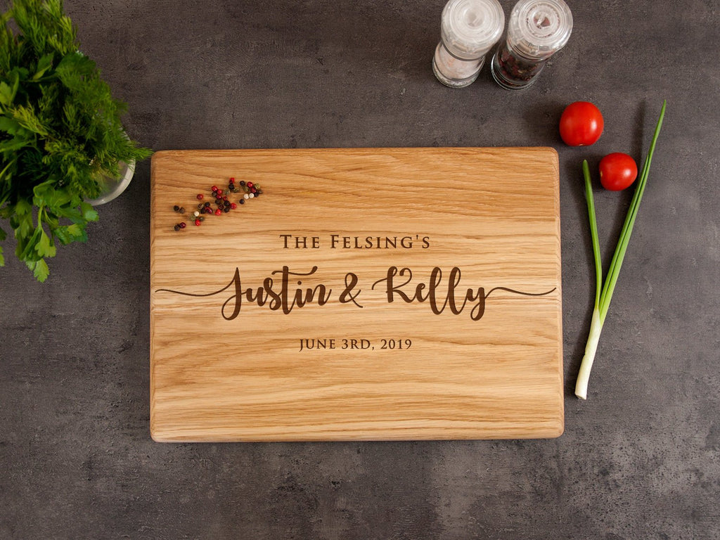 Personalized Cutting Board Wedding Gift for Couple Custom Engraved Cutting Board Engagement Gift Rustic Kitchen Décor Anniversary Gift