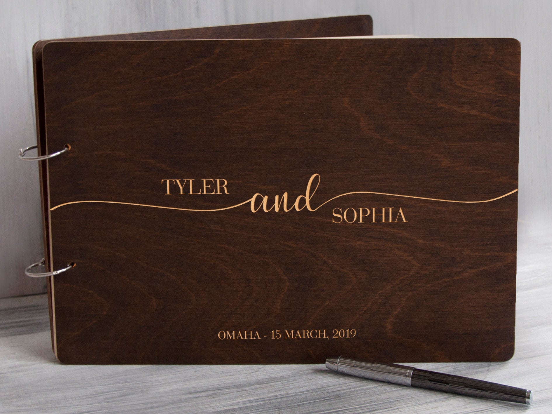 Rustic Wedding Guest Book Unique Wedding Guestbook Wood Guest Book Alternative Custom Guest Book Modern Guest Book Personalized GuestBook