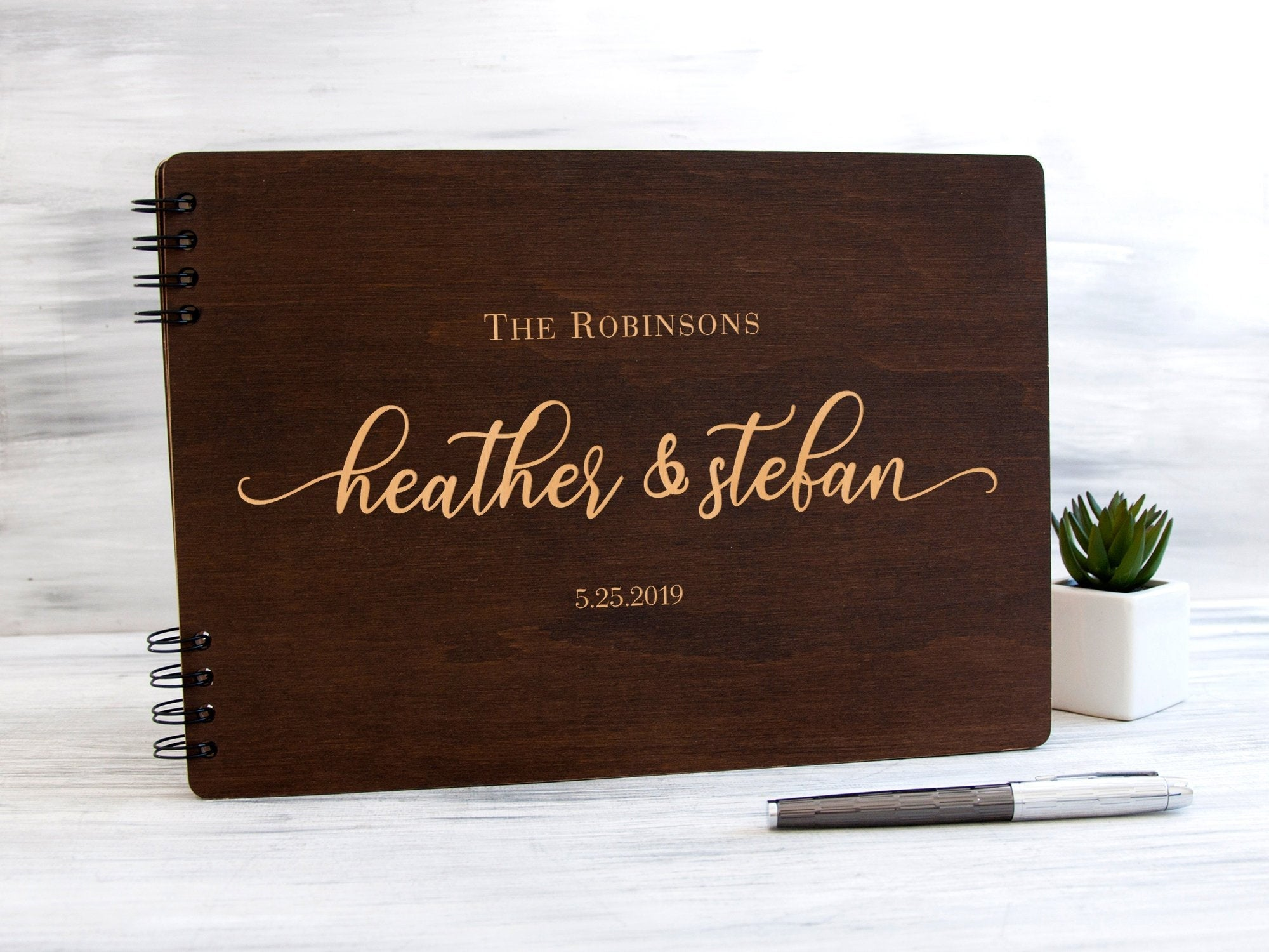 Wedding Guest Book Custom Wedding Guestbook Rustic Wedding Decor Personalised Guest Book Wedding Shower Gift Wooden Guest Book Ideas Wedding