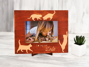 Wood Photo Frame Cat Lover Gift Custom Picture Frame Personalized Cat Gifts I Love My Cat Engraved Frame Gift for Daughter Pet Lover Gift