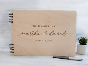 Personalized Wedding Guest Book Rustic Guestbook Ideas Wood Guest Book Custom Guest Book Wedding Calligraphy Album Wedding Gift for Couple