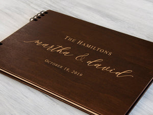 Rustic Wedding Guest Book Personalized Guestbook Engraved Wooden Guest Book Alternative Custom Guest Book Bride and Groom Newlywed Album