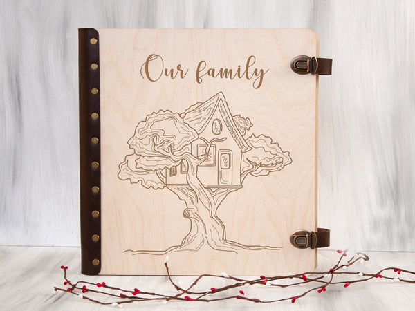Custom Photo Album Our Family Gift Engraved Wood Scrapbook Album with Self-Adhesive Sheets Family Tree Gift Anniversary Gift for Parents